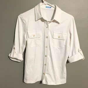 J. McLaughlin Pure White Button Up Blouse